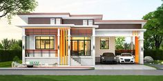 This elevated one storey house has 3 bedrooms and 2 bathrooms having a total living space of 150 square meters. House size meters width meters in depth, which is also the size of the footprint of the house. Simple House Interior Design, Simple Bungalow House Designs, House Arch Design, House Outer Design, House Outside Design, Modern Bungalow House, House Extension Design, Bungalow House Plans, Minimalist House Design