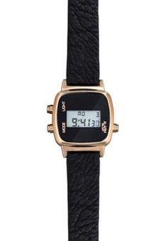 Black Leather-Look Strap Digital Watch
