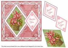 Lily Bouquet Just for You 7in Double Diamond Topper on Craftsuprint - Add To Basket!