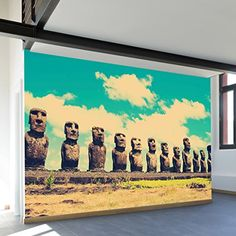 Easter Island Wall Mural Decal – 9 Panel http://www.easterdepot.com/easter-island-wall-mural-decal-9-panel/ #easter  Home may be where the heart is, but adventure is where the soul lies. Bring heart and soul together with this beautiful architectural print. Featuring the ever popular Easter Island and its famous statues, this mural makes a dramatic statement in any room.Ê Size: 180″x100″ Size: 180″x100″ Removes Clean Size: 180″x100″ Size: 180″x100″ Removes Clean Repositionable & Reus..