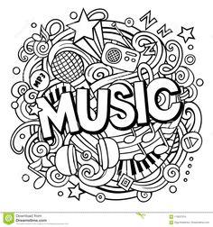 Cartoon cute doodles music word line stock vector (royalty free Doodle Art Letters, Cute Doodle Art, Doodle Art Designs, Doodle Art Drawing, Mandala Drawing, Music Drawings, Art Drawings Sketches, Simple Doodles, Cute Doodles