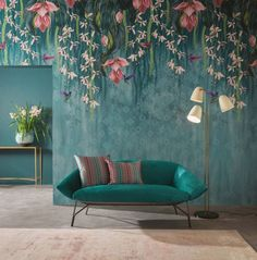 Blumentapete Trailing Orchid von Osborne & Little - Room & Living - Orchideen Orchid Wallpaper, Wallpaper Decor, Wallpaper For Home, Wallpaper Ideas, Wallpaper Designs, Wallpaper Direct, Wallpaper Wallpapers, Vintage Wallpapers, Teal Wallpaper Feature Wall