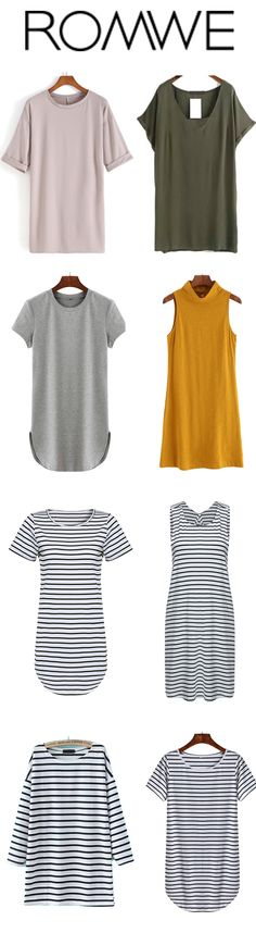 Longing for a lot of soft T-dress for so long. Plain shift dress and stripe casual dress are must for my style. Fall Outfits, Summer Outfits, Casual Outfits, Cute Outfits, Casual Dresses, Look Fashion, Autumn Fashion, Womens Fashion, Mode Style