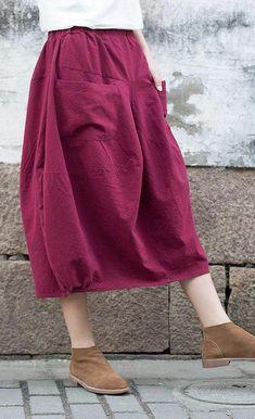Summer women linen Solid Pockets Linen Calf length A line Skirt Luxury Wedding Dress, Classic Wedding Dress, Jean Skirt Outfits, Pants For Women, Clothes For Women, Trends, Cotton Skirt, Ladies Dress Design, A Line Skirts