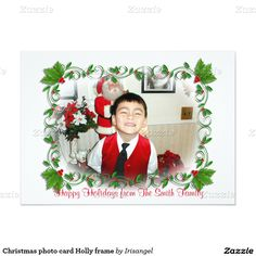 Christmas photo card Holly frame
