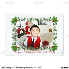 Christmas photo card Holly frame