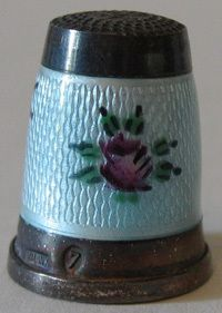 Vintage Sterling Silver Rose Enamel Thimble Germany