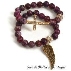 Wing And A Prayer. Purple Jasper Gemstone Sideways Cross Beaded Stretch Bracelet Set.
