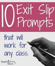 If you're not using exit slips, you really should try them. Basically, you give students a quick prompt at the end of class (or for elementary, at the end of the day or the end of a subject). Then the students have just a couple minutes to write an answer Teaching Strategies, Teaching Tips, Formative Assessment Strategies, Summative Assessment, School Classroom, Classroom Activities, Classroom Procedures, Teaching Activities, Teacher Tools
