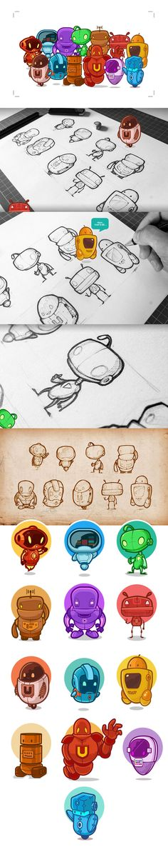 Illustration of Cute Little Robots and Sketch Processing Video