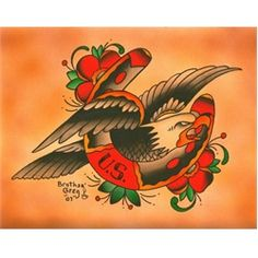 Eagle Horseshoe by Brother Greg Tattoo Art Canvas Print. Brother Greg, AKA Greg Rancourt, is a watercolor artist that tattoos at Laguna Tattoo in Laguna Beach, California. Originally from Hollywood, Brother Greg's tattoo work has been inspired by Ed Hardy, Sailor Jerry, and other American Traditional Style artists. He began tattooing in 1991.