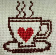 This Pin was discovered by Çiğ Cross Stitch Heart, Cross Stitch Cards, Cross Stitch Borders, Cross Stitching, Cross Stitch Patterns, Wool Embroidery, Hand Embroidery Stitches, Hand Embroidery Designs, Cross Stitch Embroidery