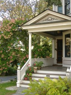 Porch Design, Traditional Front Porch Designs With Adorable Entry Staircase Also White Wooden Porch Railings Also Some Clay Pots And Beautif. House Front, Sunroom, Victorian Porch, Small Front Porches Designs, Entrance Porch, Front Porch Addition, Traditional Porch, Wooden Porch, Small Front Porches