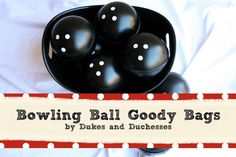 bowling ball goody bags by Dukes and Duchesses