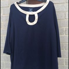 Navy Blue Top w/Keyhole Collar (Plus Size) Lane Bryant Navy Blue Top. Lane Bryant Tops