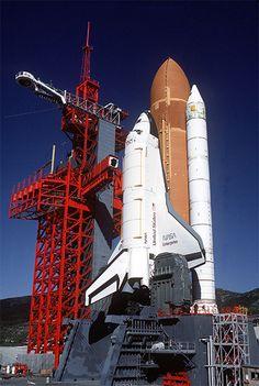 Shuttle Enterprise in test fit mount on rocket at Vandenberg AFB, California.  November 1984.  The Enterprise never flew in space.
