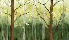 Spring Forest Wallpaper Wall Decal Art Dark Green Dreamy Woods Tree Wall Mural Oil Painting Effect Fairy Tale The Wonderful Wizard of Oz