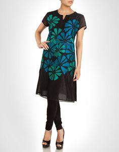 Black cotton silk kurta with contrasting blue floral appliqué. Shop Now: www.kimaya.in