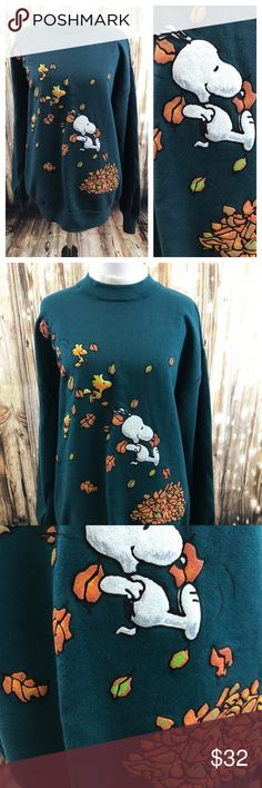 Peanuts collection Snoopy fall pullover, M Euc. Teal, Snoopy fall pullover. No tears,holes, or stains. Size medium, Peanuts Collection Sweaters Crew & Scoop Necks