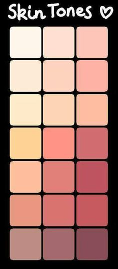 Best Ideas For Skin Color Chart Anime Skin Color Palette, Palette Art, Skin Color Paint, Digital Art Tutorial, Digital Painting Tutorials, Art Tutorials, Color Palette Challenge, Wie Zeichnet Man Manga, Art Reference Poses
