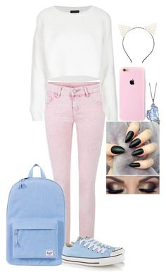 """""""pastel"""" by blackveilbrides8 ❤ liked on Polyvore featuring Topshop, Herschel Supply Co., Converse and Charlotte Russe"""