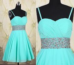 A Line Sweetheart Short Mint Green Chiffon Beaded Prom Dress With Straps