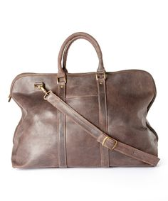 Look at this #zulilyfind! Chocolate Distressed Leather Getaway Duffel Bag by Le Donne #zulilyfinds