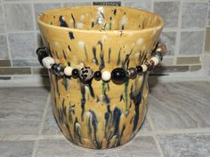 Hand thrown pottery Vase.  One of a kind animal print glaze with beading added for some bling! Food safe, hand wash by GabiLuBoutique on Etsy