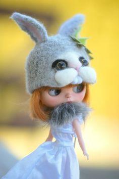 Sale Bunny Hat OOAK Blythe Felted Hat gray by Theworldofdolls