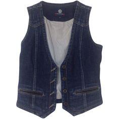 Pre-owned Denim vest with applications ($110) ❤ liked on Polyvore featuring outerwear, vests, blue, denim waistcoat, long vest, long denim vest, bogner vest and blue vest