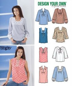 PLUS SIZE Peasant Top Sewing Pattern - Design Your Own Pullover Tops 8 Great Looks 5 Sizes #patterns4you