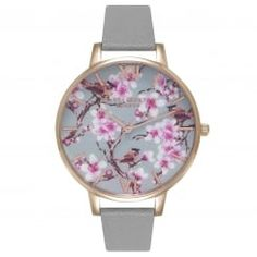 Painterly Prints Blossom Birds Grey and Rose Gold