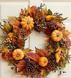 Faux Festive #Pumpkin and Gourd Wreath