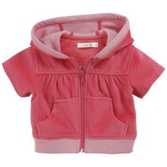 Troizenfants - Fuchsia velvet hoodie - 34335