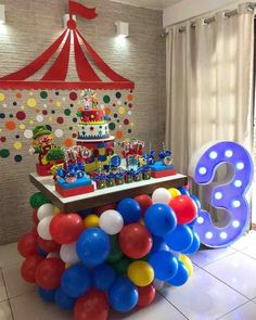 1 Year Old Birthday Cake, Baby Boy 1st Birthday Party, Circus Birthday, Daughter Birthday, Circus Carnival Party, Circus Theme Party, Carnival Birthday Parties, Birthday Party Themes, Circus Decorations