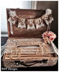 Cards Burlap Lace  Banner, Wedding Decor, Bridal Shower Gift, Shabby Chic Bridal Decor, Suit case Banner on Etsy, $14.00
