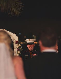 Adorable view of groom's first look.between dad and the bride! Must Have Wedding Pictures, Wedding Pics, Wedding Couples, Dream Wedding, Wedding Ideas, Wedding Stuff, Military Couples, Military Girlfriend, Military Love