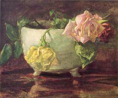 john la farge | john la farge roses in old chinese bowl john la