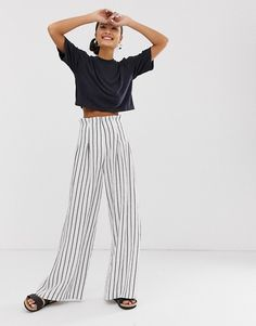 68ddfb7fc7c6 Image 1 of Monki striped high waist wide leg trousers in off white Wide Leg  Trousers