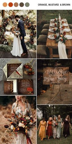 bold orange, mustard yellow and brown fall wedding color ideas