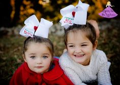 Who is on the nice and naughty list? It will be easy for Santa to tell with these beautifully embroidered naughty and nice hair bows! Available in four different sizes and a variety of colors they are the perfect holiday accessory.