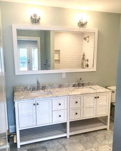 master bath remodel Sherwin Williams Sea Salt Paint Color Schemes - Interiors By Color How Much Do H Paint Color Schemes, Living Room Color Schemes, Blue Color Schemes, Paint Colours, Sherwin Williams Sea Salt, Big Bathrooms, Bathroom Bath, Bathroom Ideas, Bathroom Small