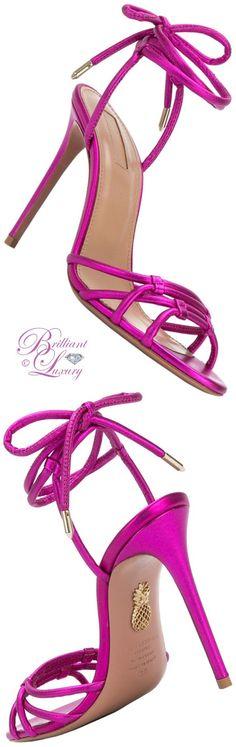Brilliant Luxury ♦ Aquazzura pink Laura sandals in pantone fashion color 2018 ~ spring crocus