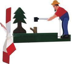 Man Chopping Wood Wooden Folk Art Wind Whirligig | eBay