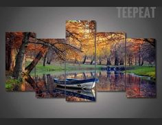 Boat in the Fall Painting - 5 Piece Canvas  #prints #printable #painting #canvas #empireprints #teepeat
