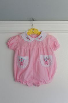6 months: Vintage Baby Romper Outfit Pink with White by Petitpoesy