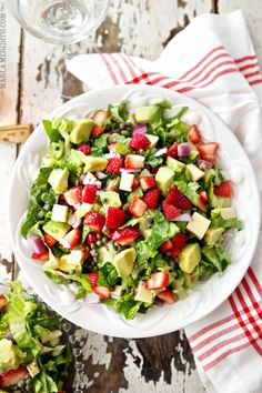 Strawberry, Avocado & Asiago Spring Salad via Family Fresh Cooking #fresh #healthy