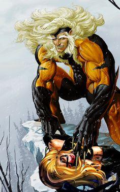 X-Men Wolverine vs Sabretooth | Sabretooth vs Warbird aka Ms. Marvel by tintallin