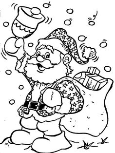 Easy to Make Christmas Coloring Page Santa Claus With A Bell - Free Coloring Sheets Christmas Coloring Sheets, Printable Christmas Coloring Pages, Coloring Sheets For Kids, Christmas Printables, Kids Coloring, Santa Coloring Pages, Free Coloring Pages, Coloring Books, Christmas Bells