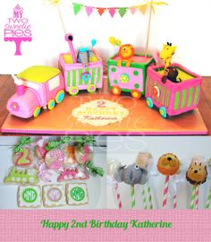 Train cake with animals ~ cake pops and cookies